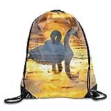 Bolsos con cordón/Mochila/Bolsa de Gimnasio, Animal Mute Swans Drawstring Backpacks Travel Storage Gym Bags