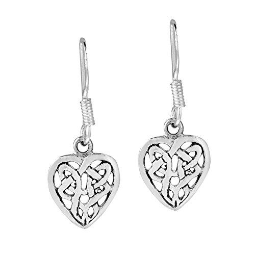 Eternal Love Celtic Knot in a Heart .925 Sterling Silver Dangle Earrings