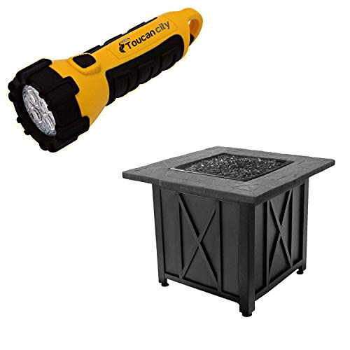 Toucan City LED Flashlight and Blue Rhino Endless Summer Outdoor Propane Gas Black Lava Rock Patio Fire Pit GAD1417G