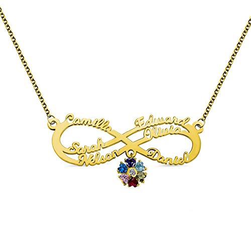 Collar con nombre Collar familiar personalizado Nombre grabado y piedra de nacimiento Infinito y colgante de flor para mamá(Dorado 22)