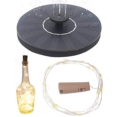 LAMXD Solar Bird Bath Fountain Pump,with 4 Nozzle, for Bird Bath, Garden, Pond, Pool, Outdoor,and Wine Bottle Lights with Cork