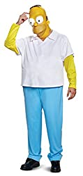 in budget affordable New Homer Deluxe Adult Disguise Men's Suit, White, L / XL (42-46)