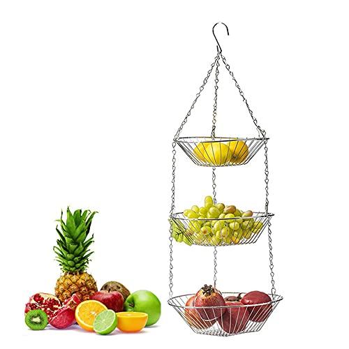 1 Pezzo Portafrutta Da Appendere 3 Ripiani, Portafrutta a Sospensione, Cesto Di Frutta In Metallo Appeso, Resistente Organizzatore Da Cucina Per Frutta, Verdura, Fiori, Pianti