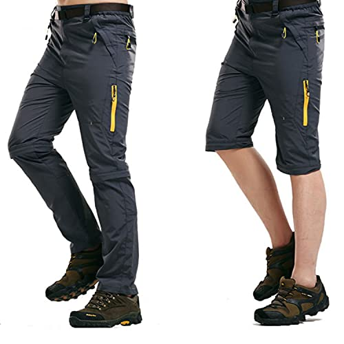 LHHMZ Mens Outdoor Hiking Trousers Convertible Breathable Lightweight Quick Dry Trousers Shorts Casual Walking Climbing Cycling Trousers Grey