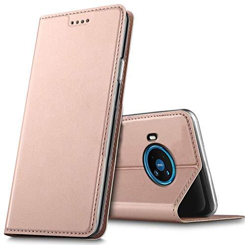 Verco Handyhülle für Nokia 8.3 5G, Premium Handy Flip Cover für Nokia 8.3 Hülle [integr. Magnet] Book Hülle PU Leder Tasche, Rosegold
