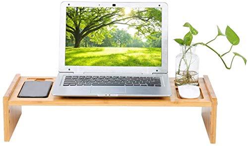 Elevador de Escritorio de bambú, Soporte de Monitor de Altura Ajustable Elevador Disipación de Calor PC de Escritorio Estante para computadora portátil Organizador de computadora de Oficina en casa