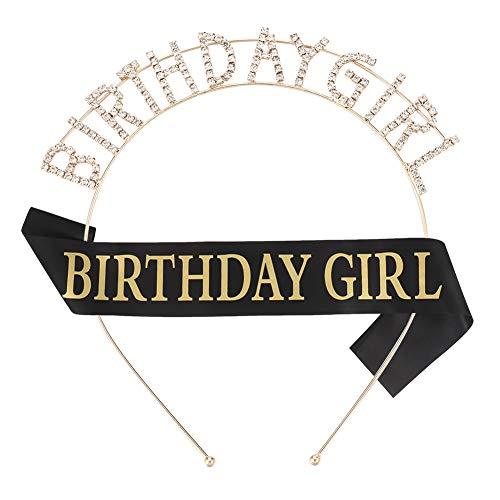 Firtink Geburtstags Krone Schärpe Geburtstags Kristall Tiara Krone mit Geburtstag Satin Schärpe für Damen Geburtstag Party Accessoires