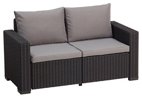 Allibert Lounge Sofa Rattan, Lounge California Sofa, Grau, 2-Sitzer