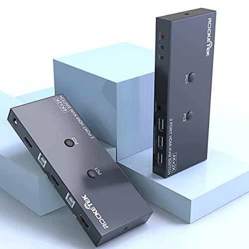 HDMI 4K KVM Switch USB 3 Port PC Computer KVM Umschalter Tastatur, Rocketek hdmi switch automatische umschaltung 2 PC 1 Monitor 4K@30 Hz für Laptop, PC, PS4, Xbox HDTV Mit 2 USB Kabeln, 1 Switch Kabel