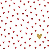 CasaJame Set di 40 (2 Confezioni da 20 Pezzi cad) Tovaglioli in Carta Monouso 3 Strati Veli 33x33cm Multicolore Motivo Piccoli Cuori
