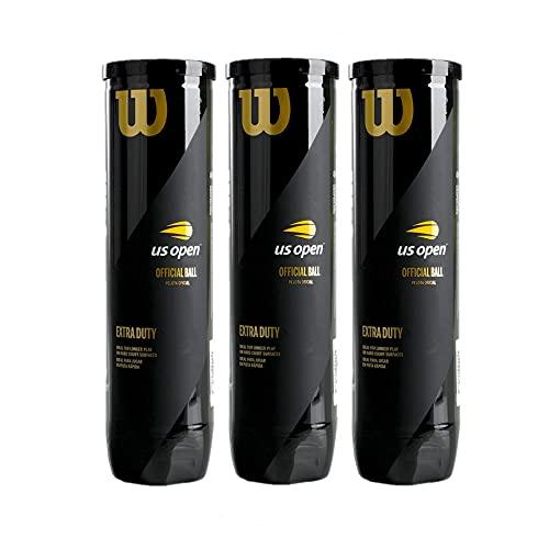 Wilson - US Open - Tennisbälle - 3 Dosen (12 Bälle) - gelb - für Wettkampf und Freizeit