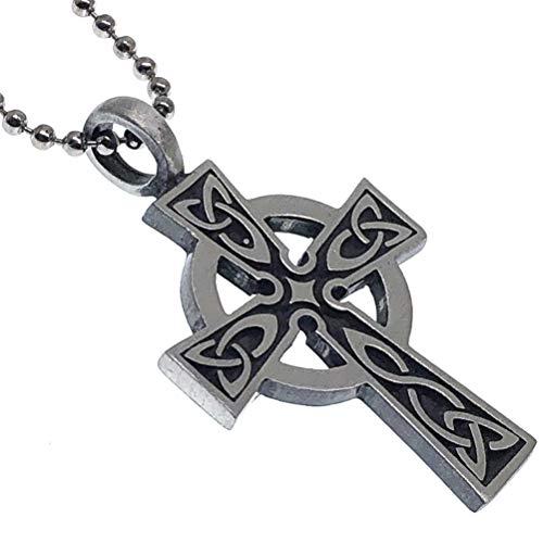 Celtic Solar Cross Triquetra Pewter Unisex Boy Men Pendant Necklace Charm Amulet w Silver Ball Chain