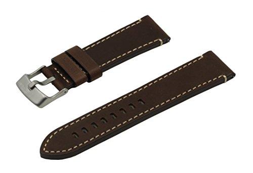 SWISS REIMAGINED hypoallergenes Uhrenarmband Kalbsleder Titan-Schließe - 17mm Braun