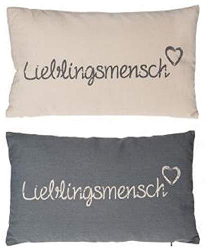 Juego de 2 cojines Lieblingsmensch en gris crema blanco Lieplingsplatz Sofá Cojín decorativo para los amados 30 x 50 cm