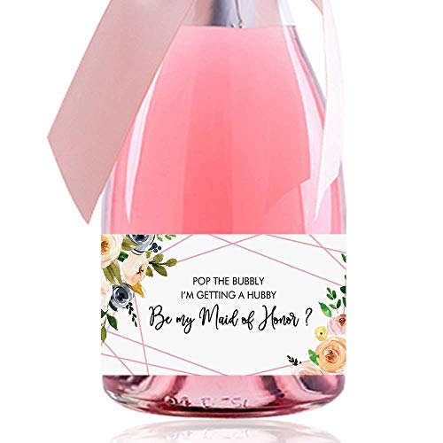Set of 10, Bridesmaid Proposal Gift, Bridesmaid Mini Bottle Label, Asking Bridesmaid, Will You Be My Bridesmaid, Champagne Label, Wine Labels, Wedding Gift