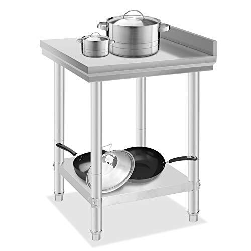 Anhon Mesa de Trabajo de Acero Inoxidable 60x60x88cm Tabla de Cocina Profesional Cocina de Acero Inoxidable Tabla de Trabajo de Cocina de Acero Inoxidable de Catering