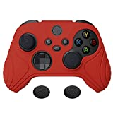 eXtremeRate PlayVital Samurai Edition Passion Red Anti-Slip Controller Grip Silicone Skin, Ergonomic Soft Rubber Protective Case Cover for Xbox Series S/X Controller with Black Thumb Stick Caps