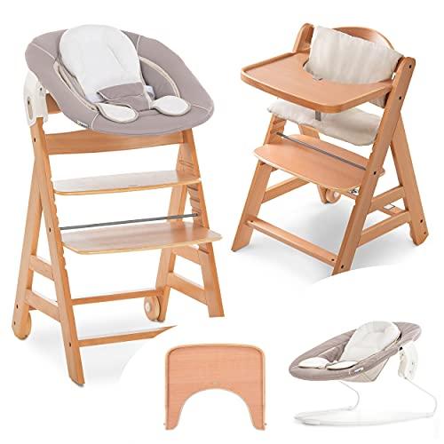 Hauck Alpha Move Newborn Set - Seggiolone Pappa in Legno dalla nascita regolabile incl. sdraietta bimbo, cuscino di seduta, vassoio - Beige Legno