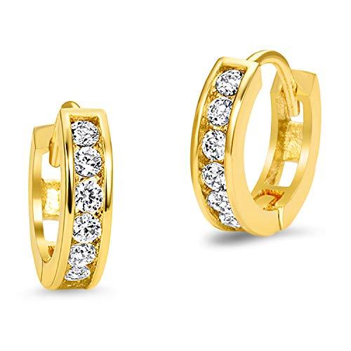 14k Gold Plated Brass Channel Cubic Zirconia Huggie Baby Girls Hoop Earrings