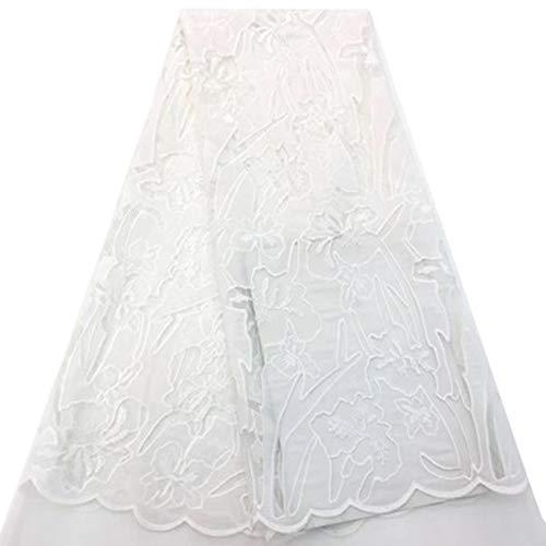 Guipure Cordón de encaje con flor 3D bordado de moda africana tela de encaje para boda fiesta, sintético, blanco, 10 años