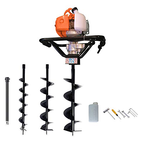 dirty pro tools Petrol Earth Auger 3HP Post Hole Borer Ground Drill with 3 Bits, 4, 6, 8' Bits.and EXTENSION BAR included and accessories