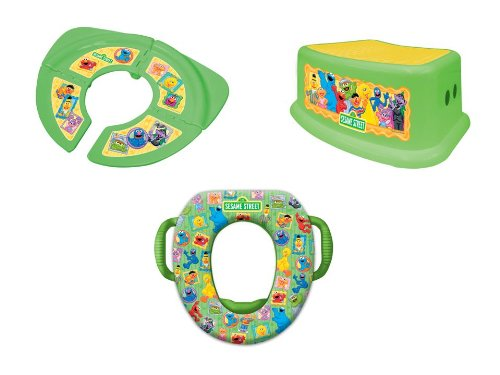 Sesame Street'Framed Friends' 3 Piece Potty Training Kit - Soft Potty, Folding/Travel Potty and Step Stool, Green