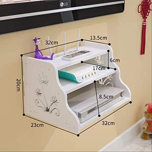 ZHAOYAN Eenvoudige Set-Top Box Plank Router Shelf Hotel Projector Draadloze Wifi Kat Muur Gratis Punchwall Ophangen 32 * 23 * 20 Wit