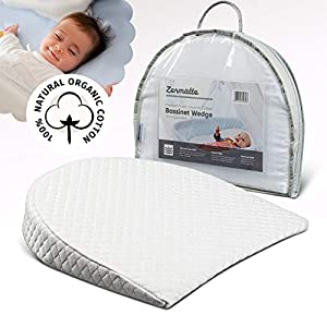 Zermätte Bassinet Wedge Pillow for Reflux Baby Sleep- for Infant and Newborn Colic & Congestion – Premium Organic Cotton Cover with Skid-Free Bottom – Waterproof Inner Cover – Storage Bag