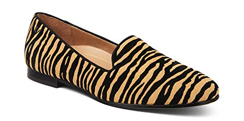 Vionic Women's North Willa Slip On Flat - Supportive Ladies Walking Shoes That Include Three-Zone Comfort with Orthotic Insole Arch Support, Medium Fit Black Tiger 8 Medium US
