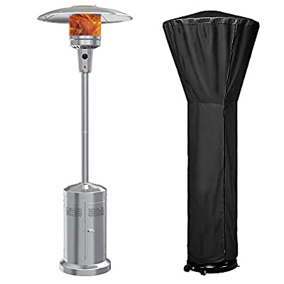 Gas Patio Heater with Wheels And Cover?48,000 BTU of Outdoor Portable LP Propane Commercial Heater ?automatically shuts off gas flow ,with CSA Certified for Garden
