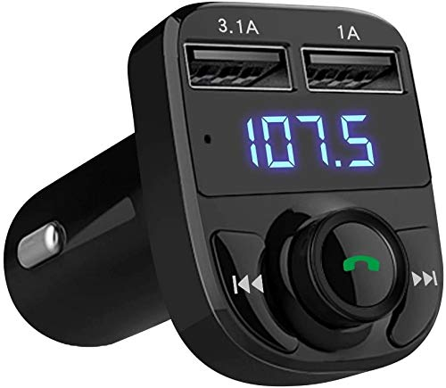 IshMukh Handsfree Call Car Charger,Wireless Bluetooth FM Transmitter Radio Receiver,Car Bluetooth Adapter,Dual USB Port Car Charger Support Calling & Mp3 Audio Music Stereo Adapter for All Smartphones