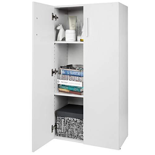 COSTWAY Bücherschrank mit Türen Mehrzweckschrank Standregal Schrank Bücherregal mit 2 verstellbaren Regalböden für Schlafzimmer, Wohnzimmer 115x60x32cm