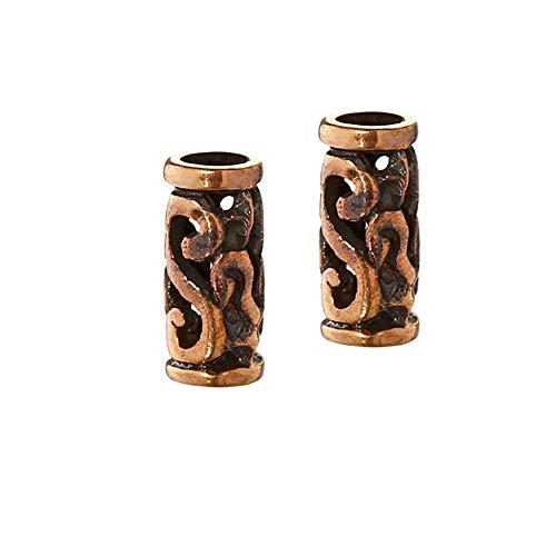 NKlaus SET 2x Kleine Bartperle Fenella Celtic Verzierung Bronze Lockenperle 40504