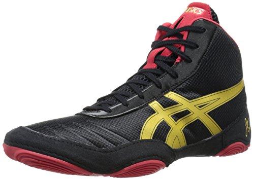 ASICS Men's JB Elite V2.0 Wrestling Shoe, Black/Olympic Gold/Red, 13 M US