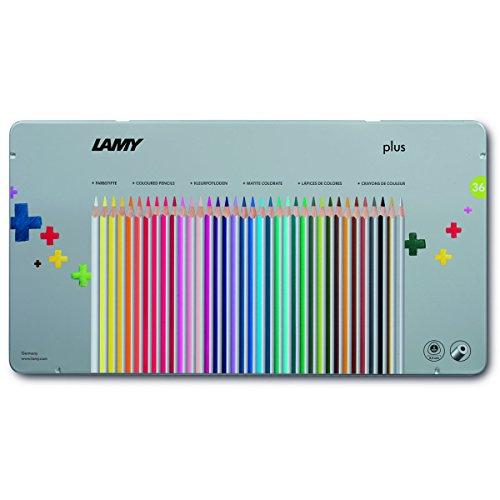 LAMY plus Farbstifte 530 36er-Set: Metallbox mit 36 Farbstiften aus hochwertigem Zedernholz mit ergonomischer Dreieckform und hoher Farbbrillanz – Dicke Mine Ø 4 mm
