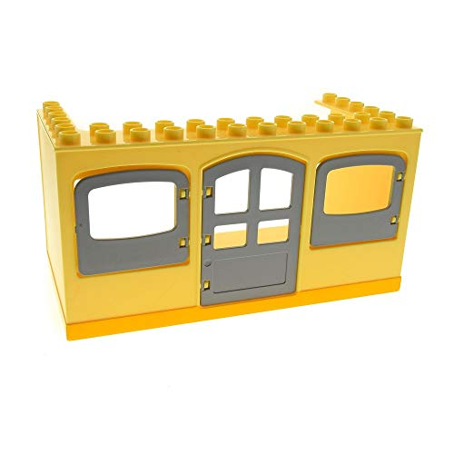 1 x Lego Duplo Gebäude Bauwagen Wohnwagen Hell Gelb 6x12x5 groß Haus Fenster Tür Bob der Baumeister (Ohne Räder) Set 3296 53510 31023 52072pb01