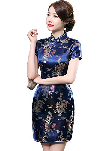 EXPOING Cheongsam Sexy Short Chinese Traditional Dress Mini Qipao Costume for Women Girls Kids Plus Size (Flower Blue, Chinese S)