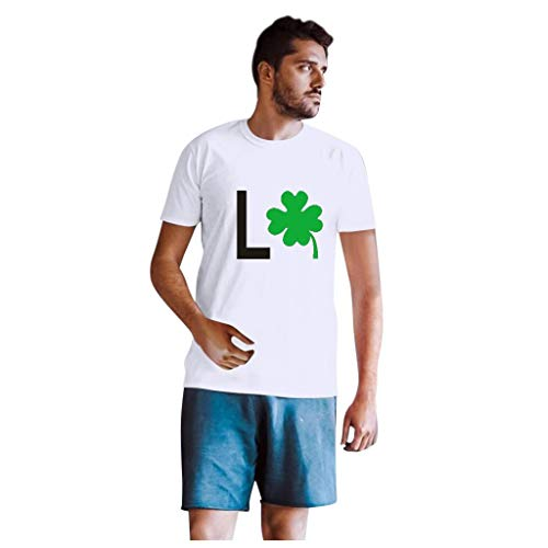 Dasongff T-shirt Klee Partner Look Paar T-shirt St. Patricks Day korte mouwen kostuum basic casual thee bovenstuk top blouses Large wit/heren.