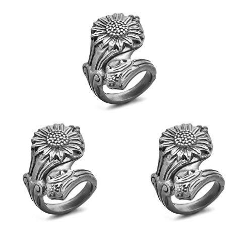 Bohemia ajustable 925 anillo de girasol de plata anillos de girasol ajustables anillos góticos de girasol para mujeres-3 piezas