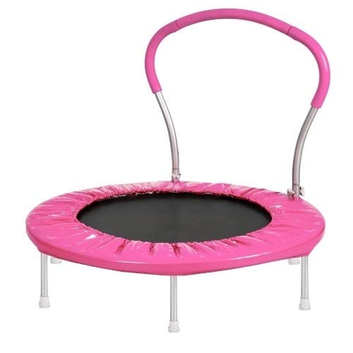 Trampoline bounce bed Sxy 14FT outdoor activity round shape with safety fence/ladder/basketball hoop jianmeiliao (Color : Pink)