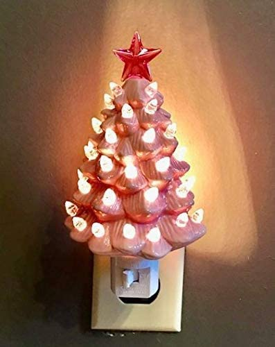 discount Decorative sale Ceramic Christmas Tree popular Night - Pink outlet online sale