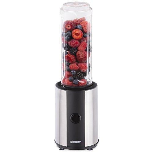 Cloer 6969 Appareil à smoothie en acier inoxydable 300 W Sans BPA Passe au lave-vaisselle Capacité 0,6 l Bol mélangeur ou gourde inclus / Couteau en acier inoxydable / Mini mixeur