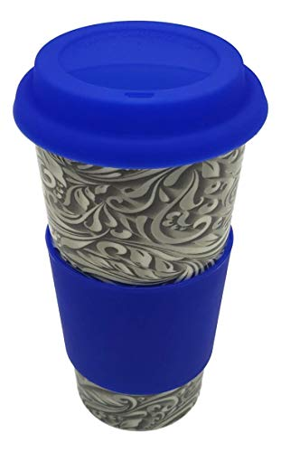 Upper Drawer Ceramic Coffee Travel Mug with Silicone Lid 16 oz Double Wall Insulated Pure Silicone