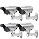 Solar Powered Dummy Security Camera, Bullet Fake Surveillance System with Realistic Red Flashing Lights and Warning...