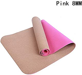 Yoga Mat Cork Sports Yoga Mat Cork Natural Rubber Yoga Mat TPE Fitness Non-Slip Exercise Pilates Workout Pink 5