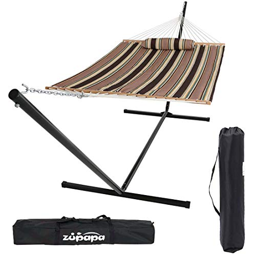 Zupapa 15 Feet Hammock with Stand Heavy Duty 550 Pounds Capacity with Spreader Bars and Pillow, 2 Person Double Hammock for Indoor Outdoor Use, 2 Storage Bags Included (Geometric Green Gray)