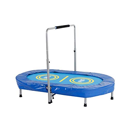 SOPHM5 Rebounder Home Parent-child Game Trampoline Children Indoor Entertainment Child Bounce Bed Double Trampoline Foldable with Armrest Oval Max Load 100kg Fitness Trampoline Exercise Equipment