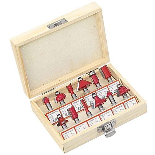 12 piezas de juego de fresas de 8 mm portaherramientas profesional juego de herramientas de fresado de carburo de tungsteno + caja de madera suministros científicos industriales