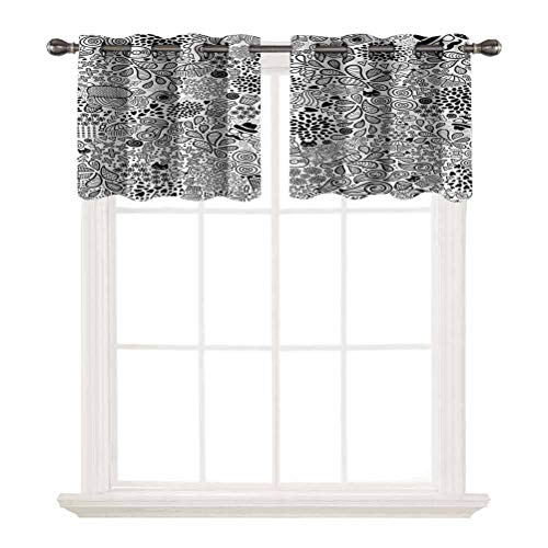 SoSung Short Straight Drape Valance,Doodle,Hipster Cupcake Tea,Grommet Top Blackout Curtain Valance Window Treatment for Living Room,W52 by L12,2 Panels