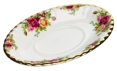 Royal Albert Old Country Roses Gravy Boat Stand, Mostly White with Multicolored Floral Print